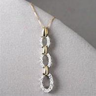 0.50 Cttw. Diamond Pendant, Two-tone 14k Gold