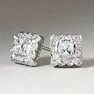 0.50 Cttw. Princess & Round-cut Diamond Earrings