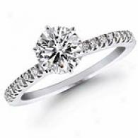 0.64 Cttw. Diamond Engagement Sound, 14k White Gold