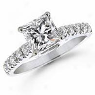 1 1/4 Ct. Princess Diamond Engagement Ring, 14k