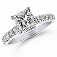 1-1/4 Ct. Princess Diamond Engagement Ring, 14k