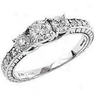 1 1/5 Ct. 3-stone Diamond Ring, 14k White Gold