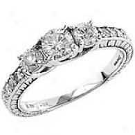 1 1/5 Cttw. 3-stone Diamond Ring With Side Stones