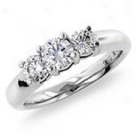 1 Cttw. 3-stone Diamond Ring, 14k White Gold