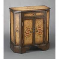 1 Drawer &  2Door Floral Brown Cabinet