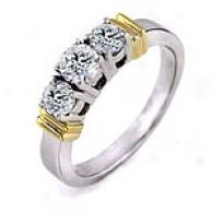 1.0 Cttw. 3-stone Diamond Resonance, 14k Two-tone Gold