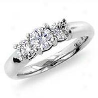 1.0 Cttw. 3-stone Diamond Ring, 14k White Gold