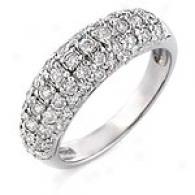 1.0 Cttw. Round Diamind Ring, 14k White Gold