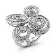 1.00 Cttw. Unique Swirl Design Diamond Ring, 14k