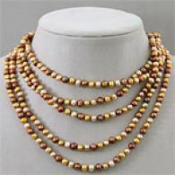 100in Multicolor Golden Chocolate Pearl Necklace