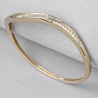 1.05 Cttw. Rhombus Bangle Bracelet, 14k Gold