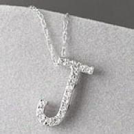 10k 0.12 Cttw. Diamond Initial J Pendant