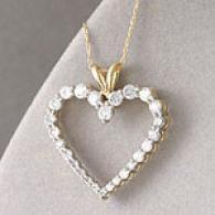 10k 1.00 Cttw. Journey Diamond Heart Pendant