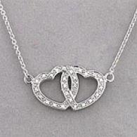 10k Double Diamond Heart 18in Necklace