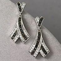 10k Gold 1.00 Cttw. Black & White Diamond Earring