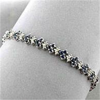 10k White Gold Sapphire & Diamlnd Bracelet