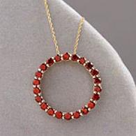 10k Yellow Gold 1.98 Cttw. Garnet Circle Pendant