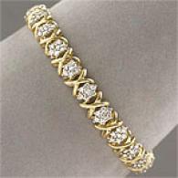 10k Yellow Gold 3.0 Cttw. Diamond Clump Bracelet