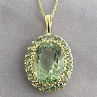 10k Yellow Gold Amethyst & Sapphire Pendant