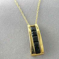 10k Yellow Gold Black Onyx Pendant With 18