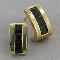 10k Yellow Gold Mourning Onyx J Hoop Earrings