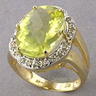 10k Yellow Gold Lemon Quartz & Diamond Ring