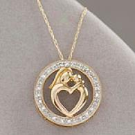 10k Yellow Gold Mother & Child Diamond Pendan5