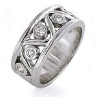 1/3 Cttw. Wavy Diamond Ring, 14k White Gold
