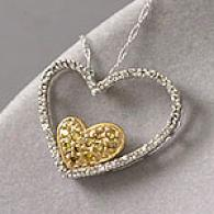 14k 0.47 Cttw. Two-tone Diamond Heart Pendant