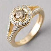 14k 0.66 Cttw. Champagne Diamond Flower Ring