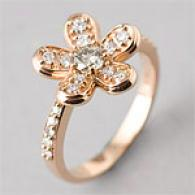 14k 0.67 Cttw. Champagne Brilliant Flower Ring