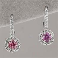 14k 0.88 Cttw. Diamond & Pink Sapphire Earrings