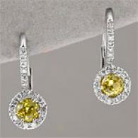14k 0.88 Cttw. Diamond & Yelokw Sapphire Earring