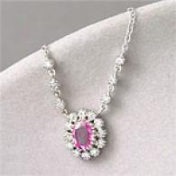 14k 0.90 Cttw. Pink Sapphire & Diamond Necklace