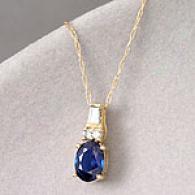 14k 0.95 Cttw. Blue Sapphire & Diamond Pendant