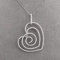 14k 0.96 Cttw. Diamond Swirl Heart Pendant