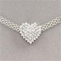 14k 1.0 Ctta. Diamond Heart Wide Chain Necklace