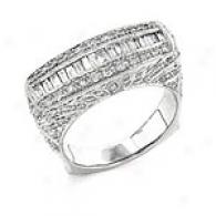 14k 1.00 Cttw. Baguette & Round Cut Brilliant Ring
