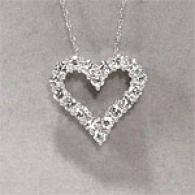 14k 1.00 Cttw. Diamond Open Heart Medium Pendant