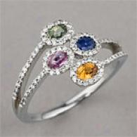 14k 1.00 Cttw. Multi Colored Sapphire Ring