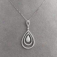 14k 1.02 Cttw. Diamond Teardrop Pendant