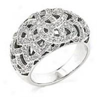 14k 1.09 Cttw.. Domed Floral Unite intimately Diamond Ring