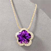 14k 11.09 Cttw. Amethyst & Diamond Flower Pendant