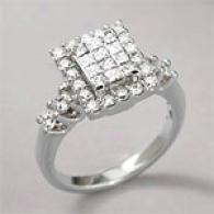 14k 1.36 Cttw. Diamond Princess Cluster Ring