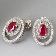 14k 1.50 Cttw. Ruby & 0.75 Cttw. Diamond Earrings