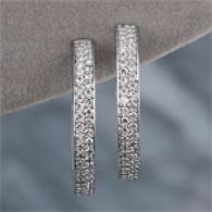 14k 1..63 Cttw. Diamond Hoop Earrings