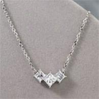 14k 1.70 Cttw. Princess 3-stone Diamond Pendant