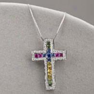 14k 1.84 Cttw. Sapphire & Diamond Cross Pendant