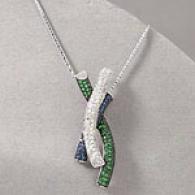 14k 1.86 Ctte. Sapphire Tsavorite Diamond Pendant