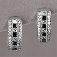 14k 1.95 Cttw. White & Black Diamond Earrings